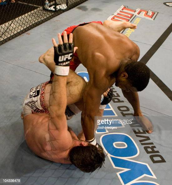 Rashad Evans punches Stephan Bonnar at UFC Fight Night 5 at the Joint at the Hard Rock on June 28 2006 in Las Vegas Nevada