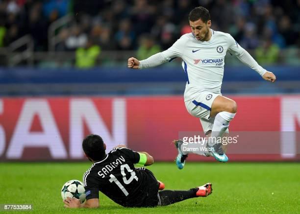 Rashad F Sadygov of Qarabag FK tackles Eden Hazard of Chelsea during the UEFA Champions League group C match between Qarabag FK and Chelsea FC at...
