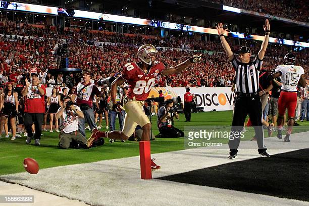 Rashad Greene of the Florida State Seminoles celebrates after he scored a 6yard touchdown reception in the second quarter against the Northern...