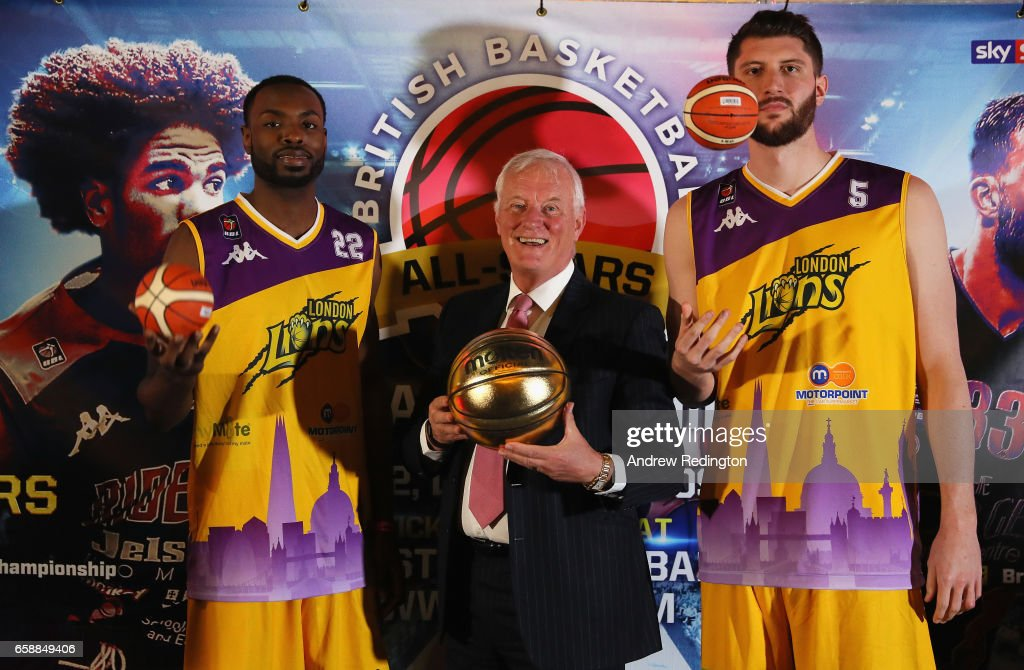 Rashad Hassan (London Lions); Barry Hearn (Chairman Matchroom Sport) and Zak Welles (London Lions) are pictured during an announcement by Barry Hearn and Matchroom Sport on March 28, 2017 at the O2 in London, England.