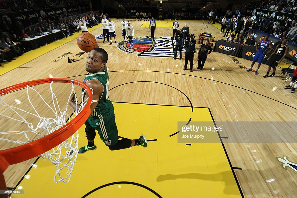 Ra'shad James #10 of the Reno BigHorns dunks during the Slam Dunk Contest as part of the NBA Dream Factory presented by Boost Mobile 2014 at Sprint Arena as part of 2014 NBA All-Star Weekend at the Ernest N. Morial Convention Center on February 15, 2014 in New Orleans, Louisiana.