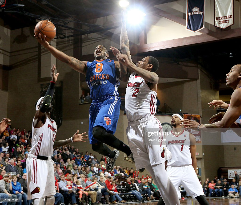 RaShad James #8 of the Westchester Knicks takes the ball to the basket against <a gi-track='captionPersonalityLinkClicked' href=/galleries/search?phrase=Greg+Whittington&family=editorial&specificpeople=7636075 ng-click='$event.stopPropagation()'>Greg Whittington</a> #2 from the Sioux Falls Skyforce during their NBA D-League playoff game at the Sanford Pentagon April 8, 2016 in Sioux Falls, South Dakota.