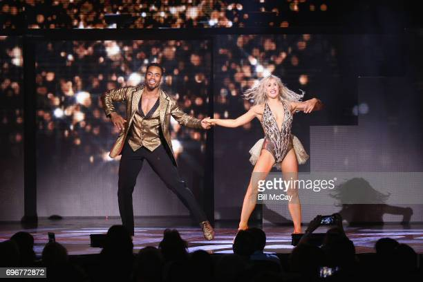 Rashad Jennings and Emma Slater perform at the Dancing With The Stars Hot Summer Nights Tour at Caesars Atlantic City on June 17 2017 in Atlantic...