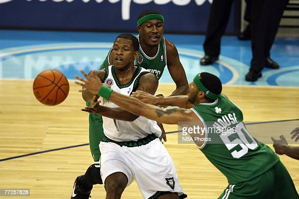 Rashad McCants of the Minnesota Timberwolves pass the ball against Eddie House of the Boston Celtics in the O2 Arena in London during NBA Europe Live...