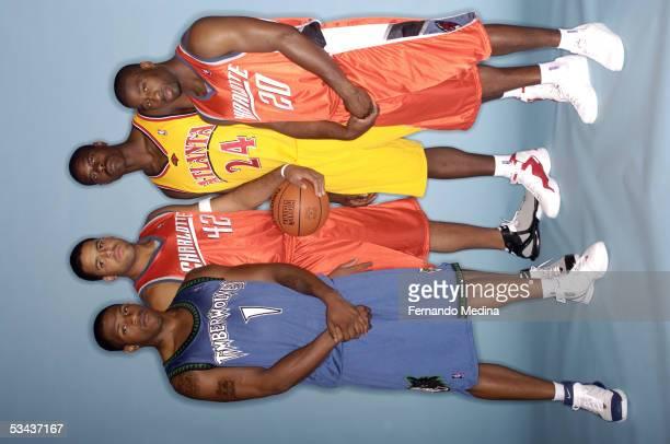 Rashad McCants of the Minnesota Timberwolves Sean May of the Charlotte Bobcats Marvin WIlliams of the Atlanta Hawks and Raymond Felton of the...