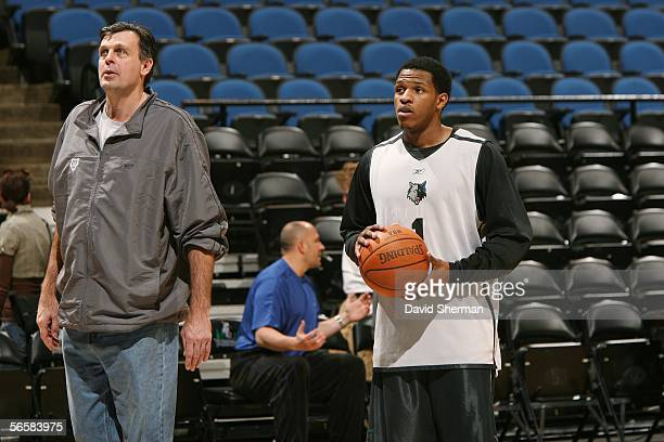 Rashad McCants of the Minnesota Timberwolves works with Kevin McHale Vice President of Basketball Operations during shoot around prior to the game...
