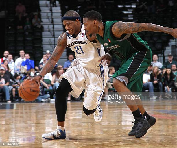 Rashad McCants of the Texas Legends drives around Aubrey Coleman of the Austin Toros on April 2 2011 at the Cedar Park Center in Cedar Park Texas...