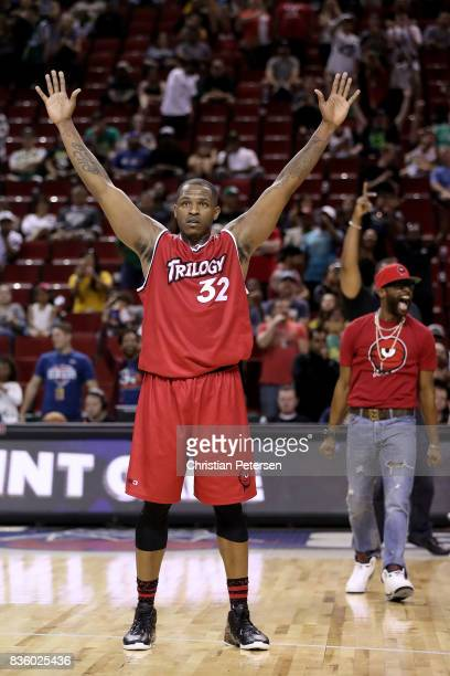 Rashad McCants of the Trilogy celebrates after winning the semi final game against the Ghost Ballers in week nine of the BIG3 threeonthree basketball...