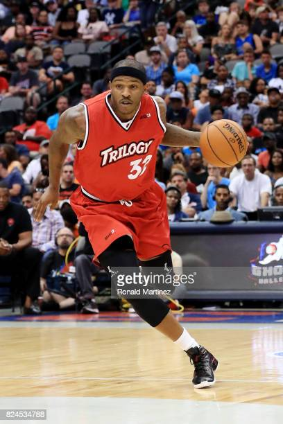 Rashad McCants of Trilogy dribbles the ball against the Ghost Ballers during week six of the BIG3 three on three basketball league at American...