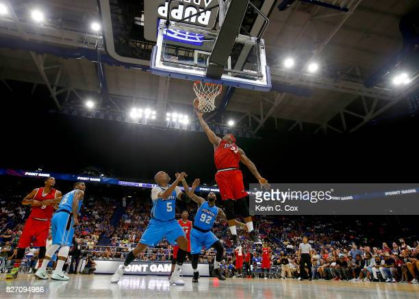 Rashad McCants of Trilogy shoots a layup during the game against Power during week seven of the BIG3 three on three basketball league at Rupp Arena...