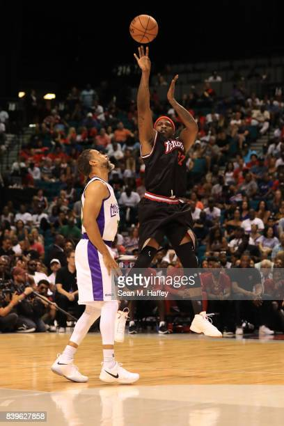 Rashad McCants of Trilogy takes a shot over Mahmoud AbdulRauf of 3 Headed Monsters during the BIG3 three on three basketball league championship game...