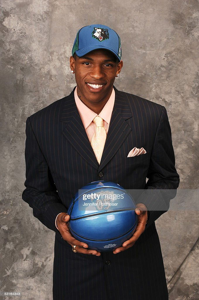 Rashad McCants poses for a portrait after being selected #14 by the Minnesota Timberwolves during the 2005 NBA Draft on June 28, 2005 at the Theater at Madison Square Garden in New York City.