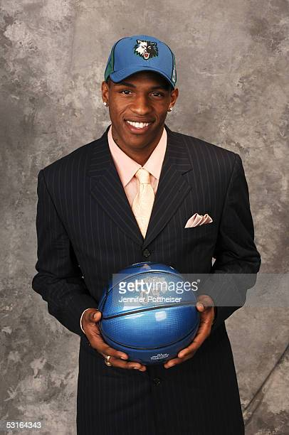 Rashad McCants poses for a portrait after being selected by the Minnesota Timberwolves during the 2005 NBA Draft on June 28 2005 at the Theater at...
