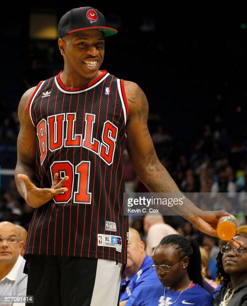 Rashad McCants reacts on the sidelines during the gamebetwen 3 Headed Monsters and the Ball Hogs during week seven of the BIG3 three on three...