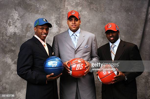 Rashad McCants Sean May and Raymond Felton pose for a portrait during the 2005 NBA Draft on June 28 2005 at the Theater at Madison Square Garden in...