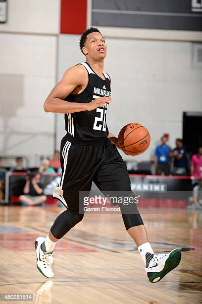 Rashad Vaughn of the Milwaukee Bucks drives against the New Orleans Pelicans on July 10 2015 at Cox Pavilion in Las Vegas Nevada NOTE TO USER User...