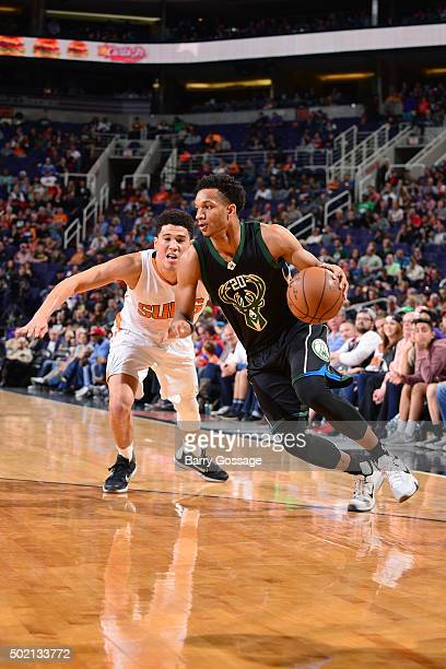 Rashad Vaughn of the Milwaukee Bucks drives to the basket during the game against the Phoenix Suns on December 20 2015 at US Airways Center in...