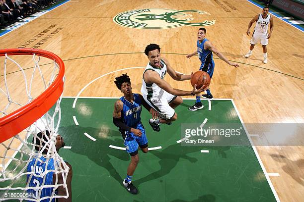 Rashad Vaughn of the Milwaukee Bucks goes for the layup during the game against the Orlando Magic on April 1 2016 at the BMO Harris Bradley Center in...