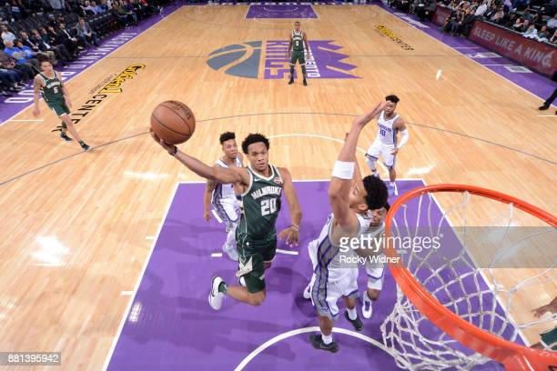 Rashad Vaughn of the Milwaukee Bucks goes to the basket against the Sacramento Kings on November 28 2017 at Golden 1 Center in Sacramento California...