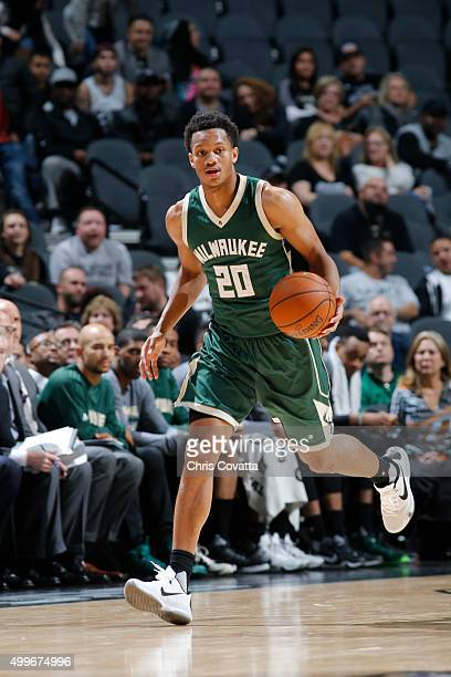 Rashad Vaughn of the Milwaukee Bucks handles the ball against the San Antonio Spurs on December 2 2015 at the ATT Center in San Antonio Texas NOTE TO...