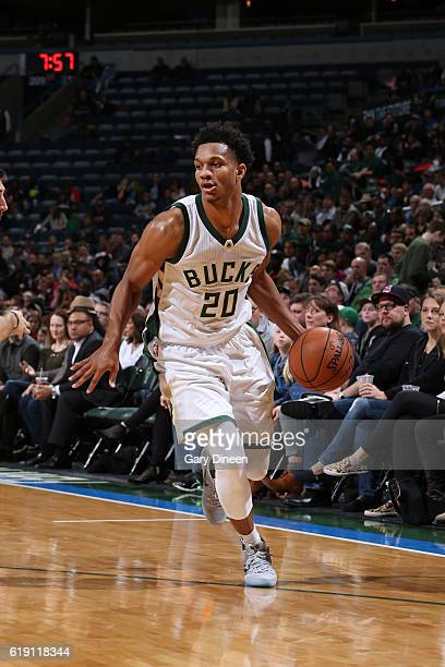 Rashad Vaughn of the Milwaukee Bucks handles the ball during a game against the Brooklyn Nets on October 29 2016 at BMO Harris Bradley Center in...