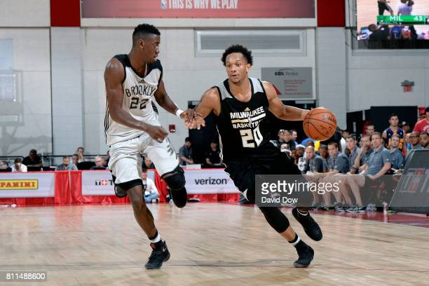 Rashad Vaughn of the Milwaukee Bucks handles the ball during the game against Caris LeVert of the Brooklyn Nets during the 2017 Las Vegas Summer...