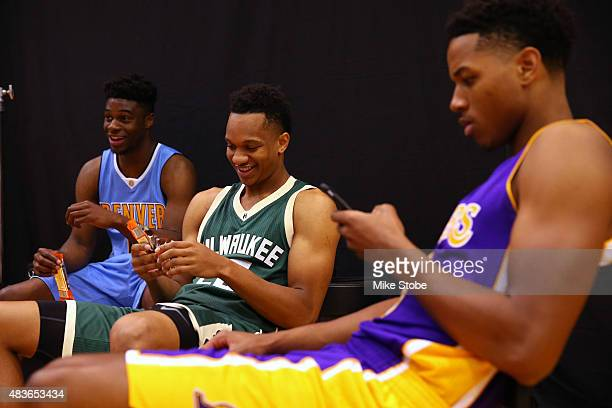 Rashad Vaughn of the Milwaukee Bucks hangs out during the 2015 NBA rookie photo shoot on August 8 2015 at the Madison Square Garden Training Facility...