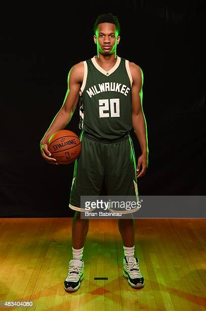 Rashad Vaughn of the Milwaukee Bucks poses for a portrait during the 2015 NBA rookie photo shoot on August 8 2015 at the Madison Square Garden...