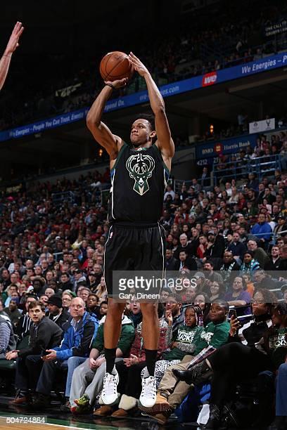 Rashad Vaughn of the Milwaukee Bucks shoots the ball against the Chicago Bulls on December 12 2016 at the BMO Harris Bradley Center in Milwaukee...