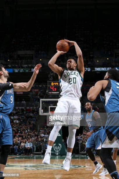 Rashad Vaughn of the Milwaukee Bucks shoots the ball against the Minnesota Timberwolves on March 11 2017 at the BMO Harris Bradley Center in...