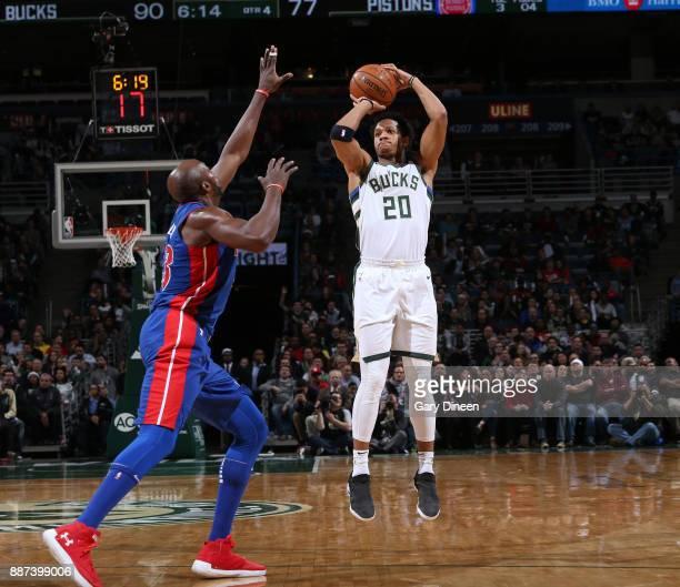 Rashad Vaughn of the Milwaukee Bucks shoots the ball against the Detroit Pistons on December 6 2017 at the BMO Harris Bradley Center in Milwaukee...