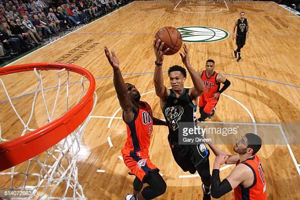 Rashad Vaughn of the Milwaukee Bucks shoots the ball against the Oklahoma City Thunder on March 6 2016 at the BMO Harris Bradley Center in Milwaukee...