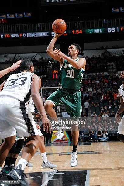 Rashad Vaughn of the Milwaukee Bucks shoots the ball against the San Antonio Spurs on December 2 2015 at the ATT Center in San Antonio Texas NOTE TO...