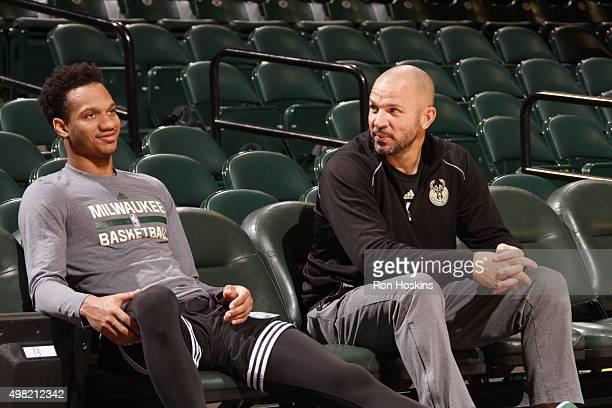 Rashad Vaughn of the Milwaukee Bucks speaks with head coach Jason Kidd of the Milwaukee Bucks before the game against the Indiana Pacers on November...