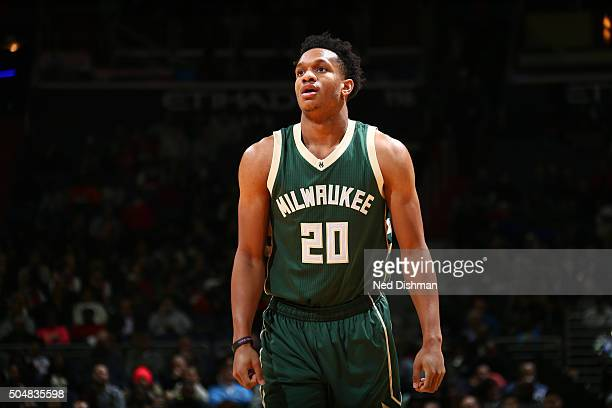 Rashad Vaughn of the Milwaukee Bucks stands on the court during the game against the Washington Wizards on January 13 2016 at Verizon Center in...