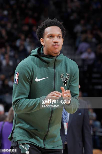 Rashad Vaughn of the Milwaukee Bucks warms up against the Sacramento Kings on November 28 2017 at Golden 1 Center in Sacramento California NOTE TO...