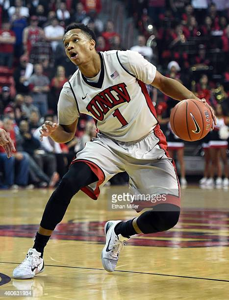 Rashad Vaughn of the UNLV Rebels drives against the Portland Pilots during their game at the Thomas Mack Center on December 17 2014 in Las Vegas...