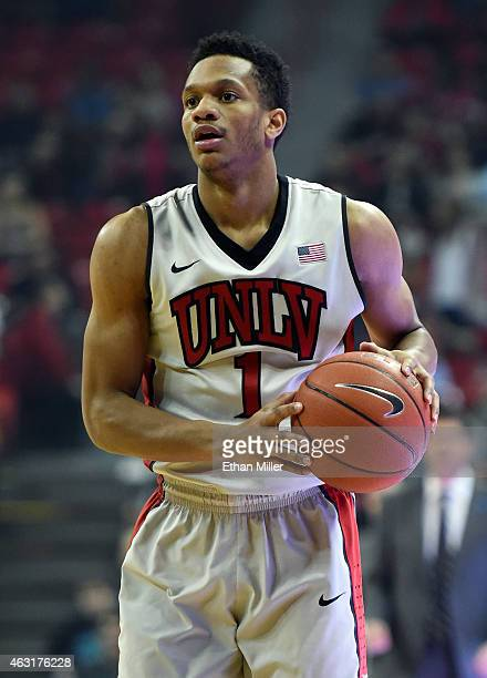 Rashad Vaughn of the UNLV Rebels looks to pass against the Fresno State Bulldogs during their game at the Thomas Mack Center on February 10 2015 in...