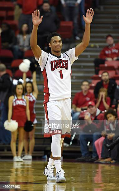 Rashad Vaughn of the UNLV Rebels reacts after a teammate hit a free throw late in their game against the Sam Houston State Bearkats at the Thomas...