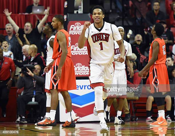 Rashad Vaughn of the UNLV Rebels reacts as the clock expires at the end of a game against the Sam Houston State Bearkats at the Thomas Mack Center on...