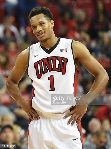 Rashad Vaughn of the UNLV Rebels stands on the court during a game against the San Jose State Spartans at the Thomas Mack Center on January 10 2015...