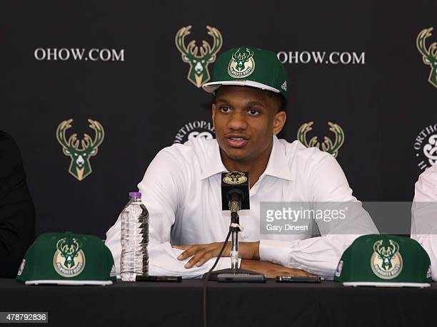 Rashad Vaughn selected with the 17th pick in the 2015 NBA Draft by the Milwaukee Bucks is introduced to the media during a press conference at the...