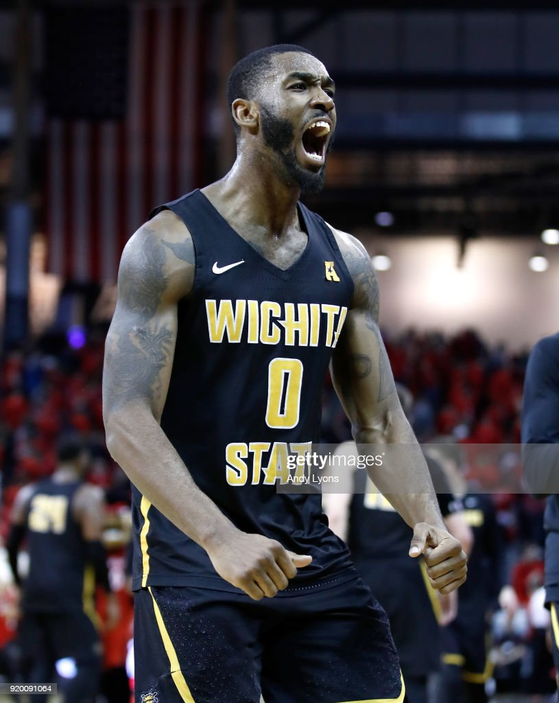 Rashard Kelly #0 of the Witchita State Shockers celebrates after the 76-72 win over the Cincinnati Bearcats at BB&T Arena on February 18, 2018 in Highland Heights, Kentucky.