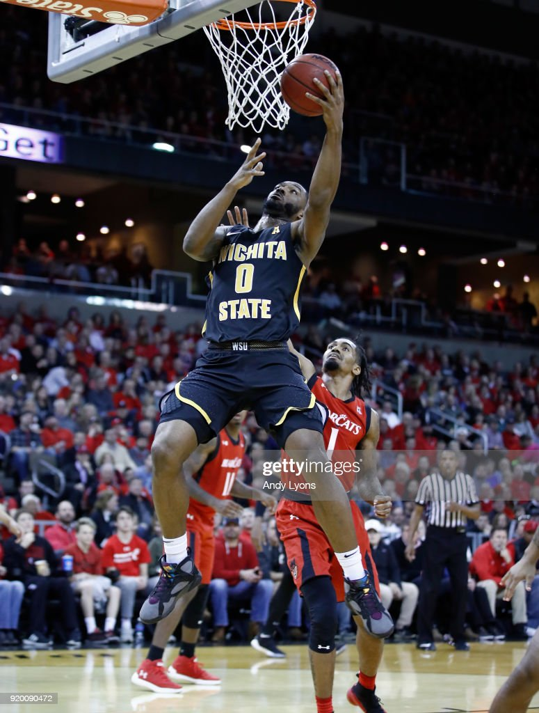 Rashard Kelly #0 of the Witchita State Shockers shoots the ball during the 76-72 win over the Cincinnati Bearcats at BB&T Arena on February 18, 2018 in Highland Heights, Kentucky.