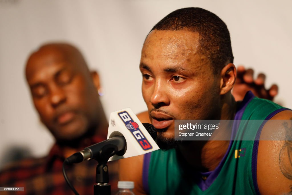 Rashard Lewis #9 of the 3 Headed Monsters addresses the media in week nine of the BIG3 three-on-three basketball league at KeyArena on August 20, 2017 in Seattle, Washington.