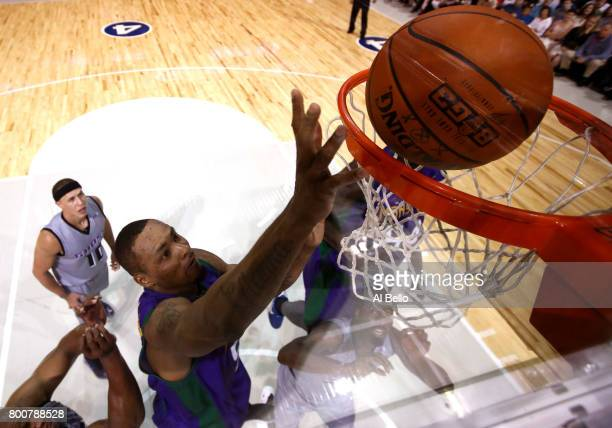 Rashard Lewis of the 3 Headed Monsters goes to the basket against the Ghost Ballers during week one of the BIG3 three on three basketball league at...