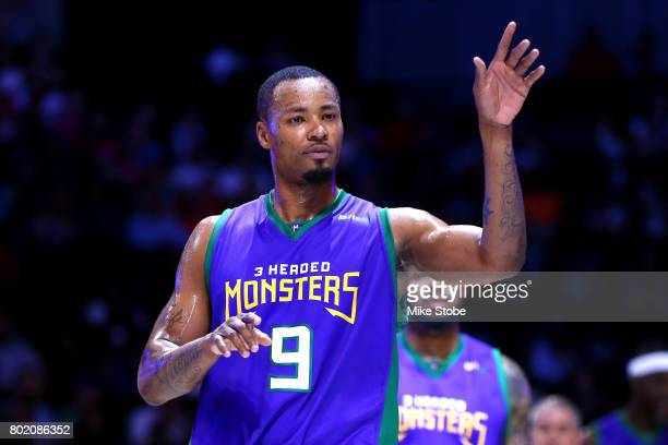 Rashard Lewis of the 3 Headed Monsters looks on in the game against the Ghost Ballers during week one of the BIG3 three on three basketball league at...