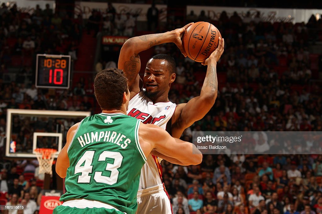Rashard Lewis #9 of the Miami Heat controls the ball against against Kris Humphries #43 of the Boston Celtics on November 9, 2013 at American Airlines Arena in Miami, Florida.
