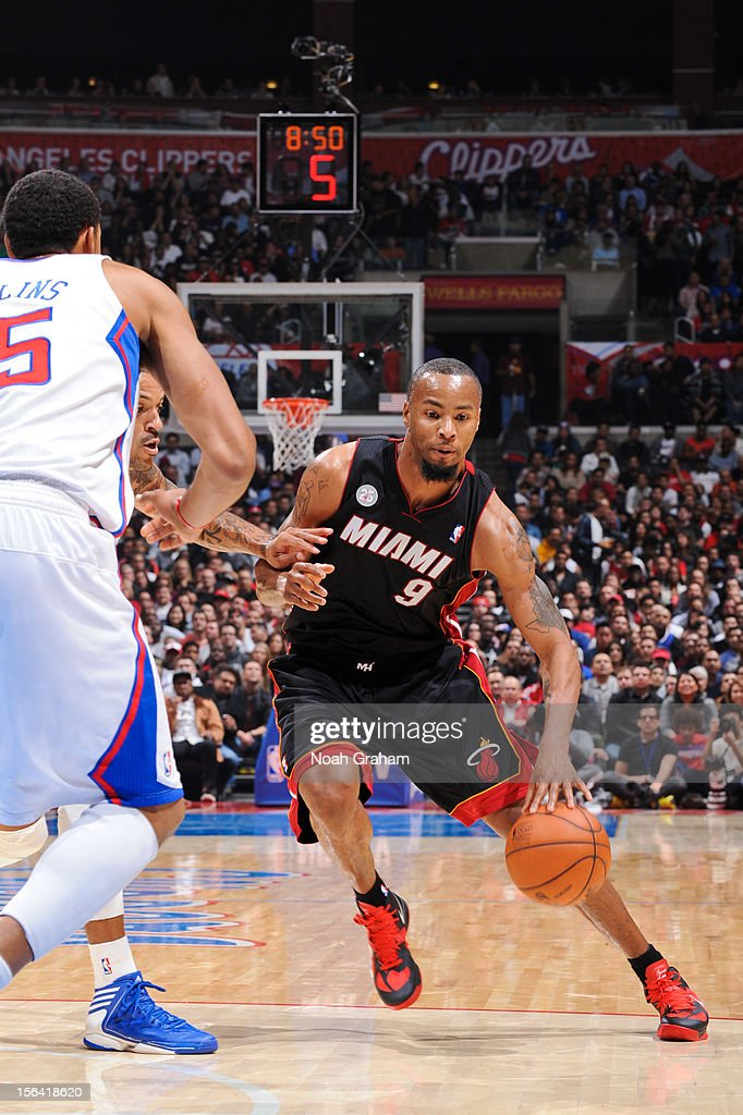 Rashard Lewis #9 of the Miami Heat drives against the Los Angeles Clippers at the Staples Center on November 14, 2012 in Los Angeles, California.