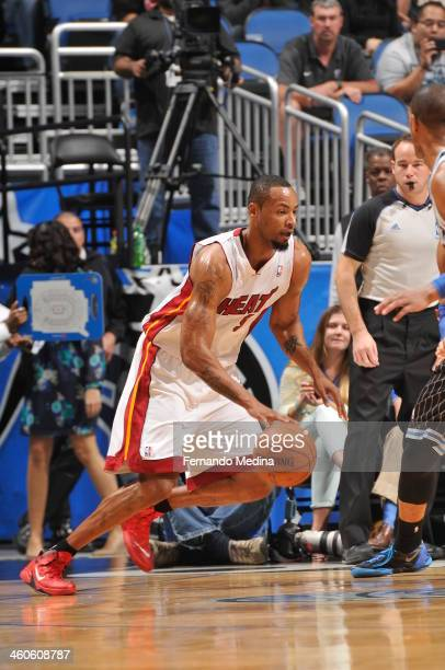 Rashard Lewis of the Miami Heat drives against the Orlando Magic on January 4 2014 at Amway Center in Orlando Florida NOTE TO USER User expressly...